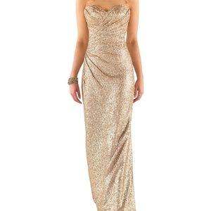 SORELLA VITA floor length Gold Sequin gown SIZE 10
